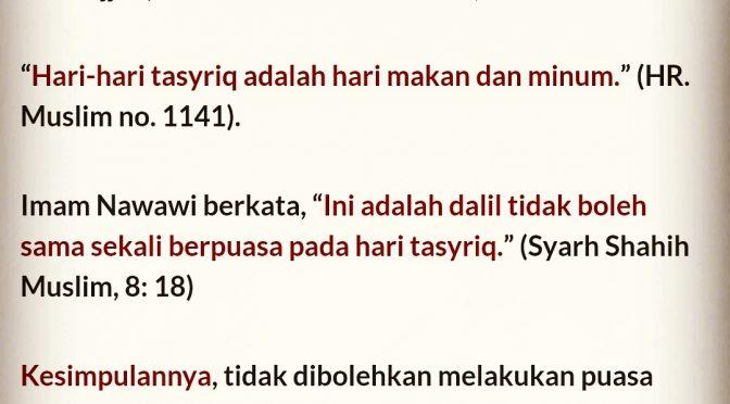 Bolehkah Puasa Sunnah di Hari-Hari Tasyriq..?